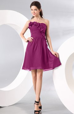 Raspberry Plain A-line Strapless Sleeveless Zipper Knee Length Homecoming Dresses