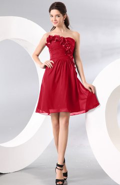 Red Plain A-line Strapless Sleeveless Zipper Knee Length Homecoming Dresses