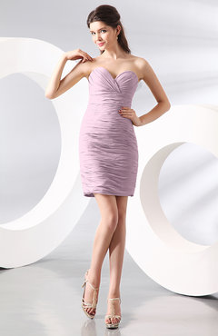 Baby Pink Sexy Column Sweetheart Zip up Chiffon Short Club Dresses
