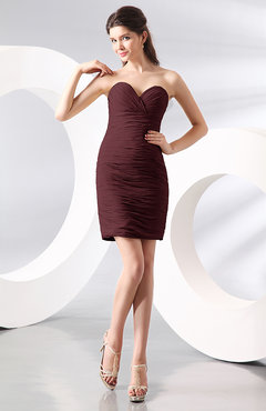 Burgundy Sexy Column Sweetheart Zip up Chiffon Short Club Dresses
