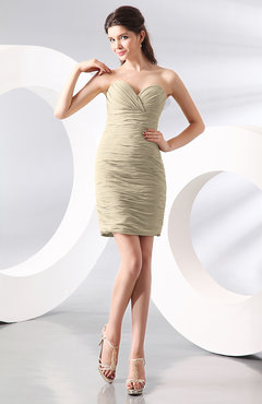 Champagne Sexy Column Sweetheart Zip up Chiffon Short Club Dresses