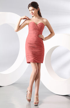 Coral Sexy Column Sweetheart Zip up Chiffon Short Club Dresses