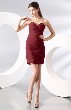 Dark Red Sexy Column Sweetheart Zip up Chiffon Short Club Dresses