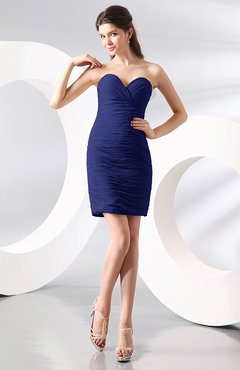 Electric Blue Sexy Column Sweetheart Zip up Chiffon Short Club Dresses