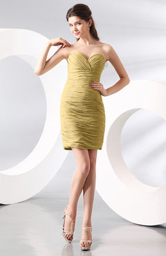 Gold Sexy Column Sweetheart Zip up Chiffon Short Club Dresses