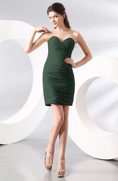Hunter Green Sexy Column Sweetheart Zip up Chiffon Short Club Dresses