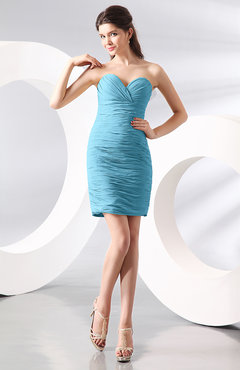 Light Blue Sexy Column Sweetheart Zip up Chiffon Short Club Dresses