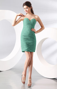 Mint Green Sexy Column Sweetheart Zip up Chiffon Short Club Dresses