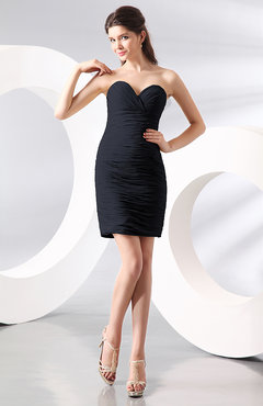 Navy Blue Sexy Column Sweetheart Zip up Chiffon Short Club Dresses