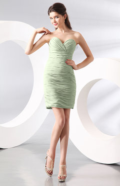 Pale Green Sexy Column Sweetheart Zip up Chiffon Short Club Dresses