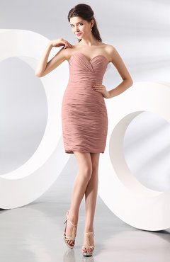 Peach Sexy Column Sweetheart Zip up Chiffon Short Club Dresses