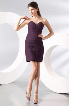 Plum Sexy Column Sweetheart Zip up Chiffon Short Club Dresses