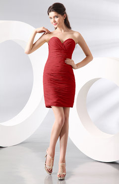 Red Sexy Column Sweetheart Zip up Chiffon Short Club Dresses