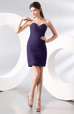 Royal Purple Sexy Column Sweetheart Zip up Chiffon Short Club Dresses