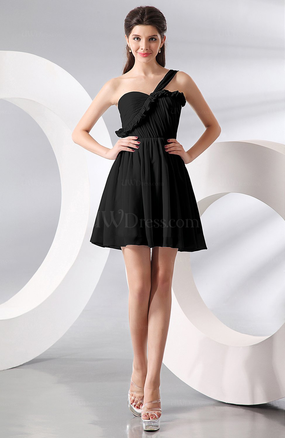 Black elegant a line one shoulder chiffon short ruching for One shoulder dress for wedding guest