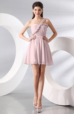 Blush Elegant A-line One Shoulder Chiffon Short Ruching Wedding Guest Dresses
