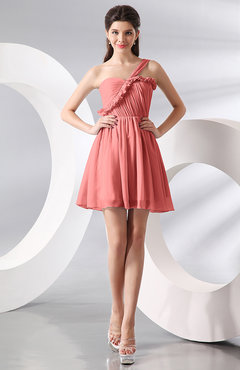 Coral Elegant A-line One Shoulder Chiffon Short Ruching Wedding Guest Dresses
