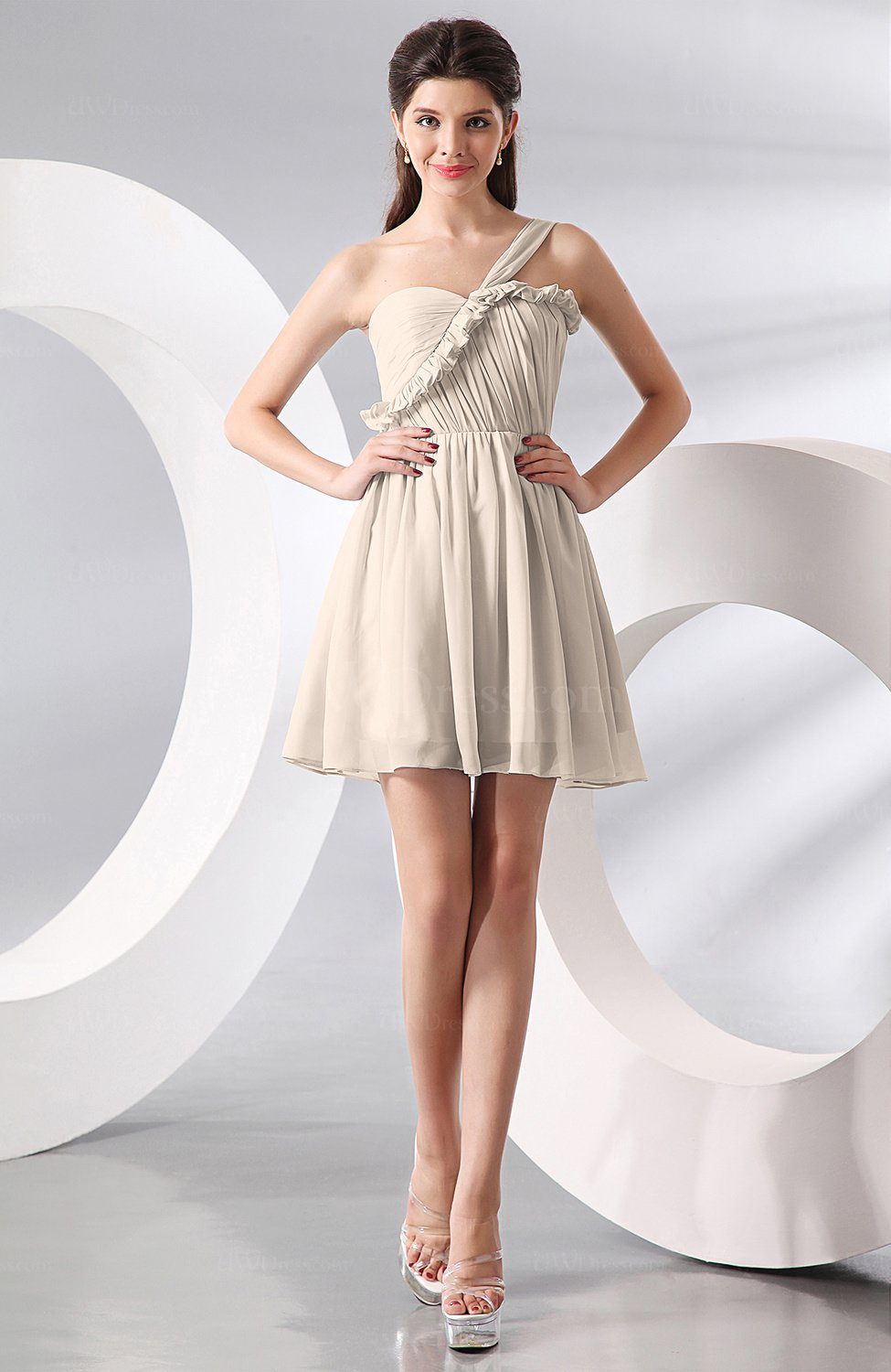 Cream elegant a line one shoulder chiffon short ruching for One shoulder dress for wedding guest