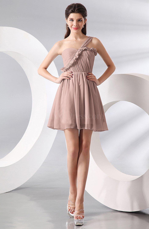 Dusty rose elegant a line one shoulder chiffon short for Elegant guest wedding dresses