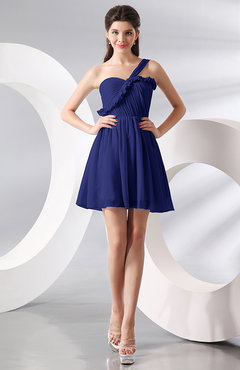 Electric Blue Elegant A-line One Shoulder Chiffon Short Ruching Wedding Guest Dresses