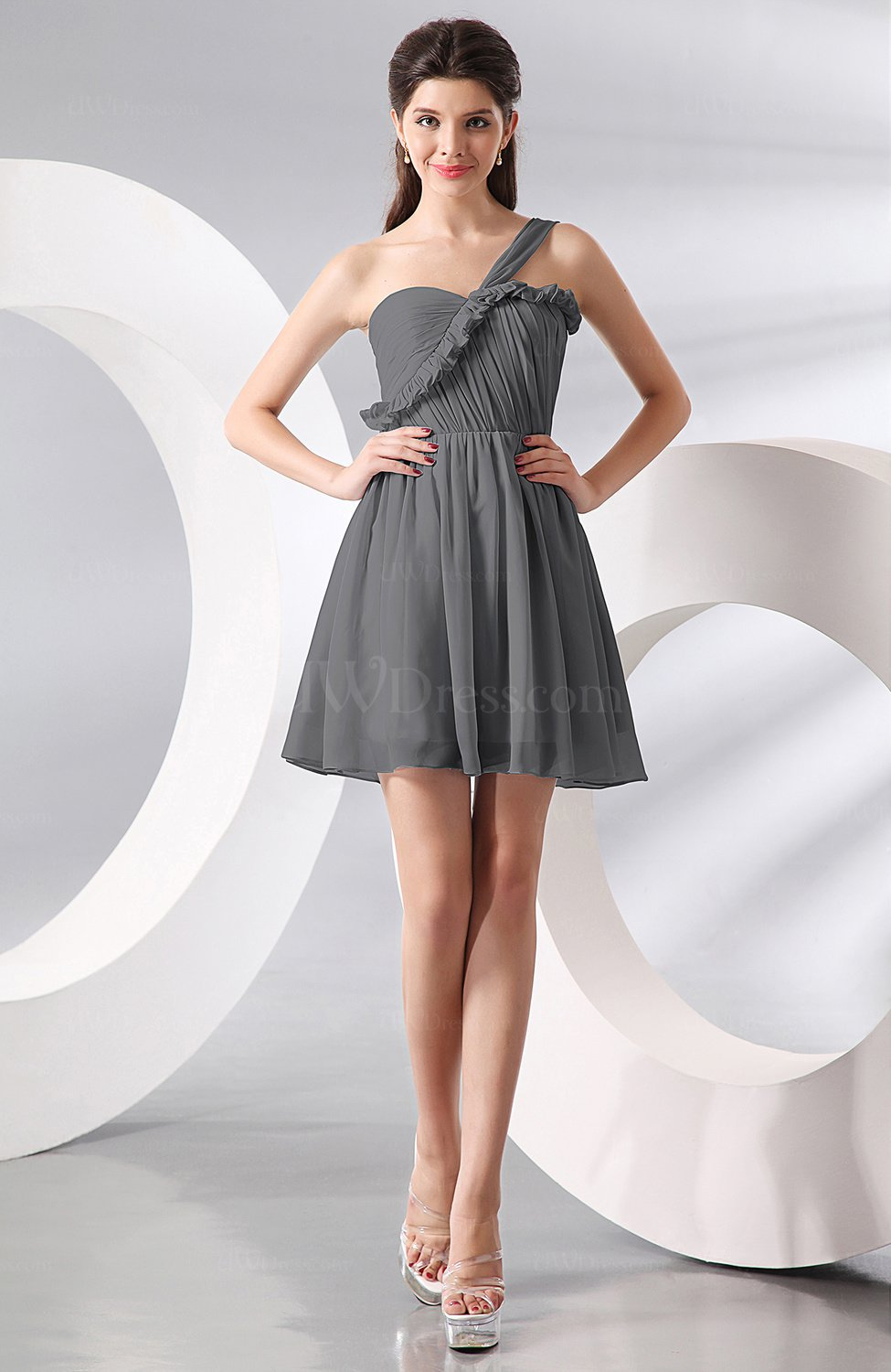 Grey elegant a line one shoulder chiffon short ruching for Grey dress wedding guest