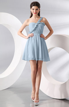 Ice Blue Elegant A-line One Shoulder Chiffon Short Ruching Wedding Guest Dresses