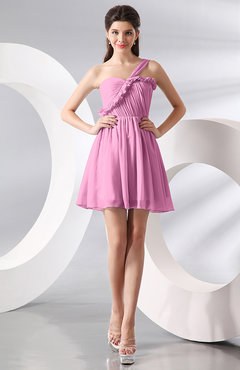 Pink Elegant A-line One Shoulder Chiffon Short Ruching Wedding Guest Dresses