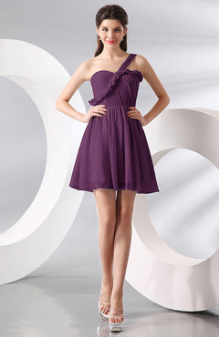 Raspberry Elegant A-line One Shoulder Chiffon Short Ruching Wedding Guest Dresses