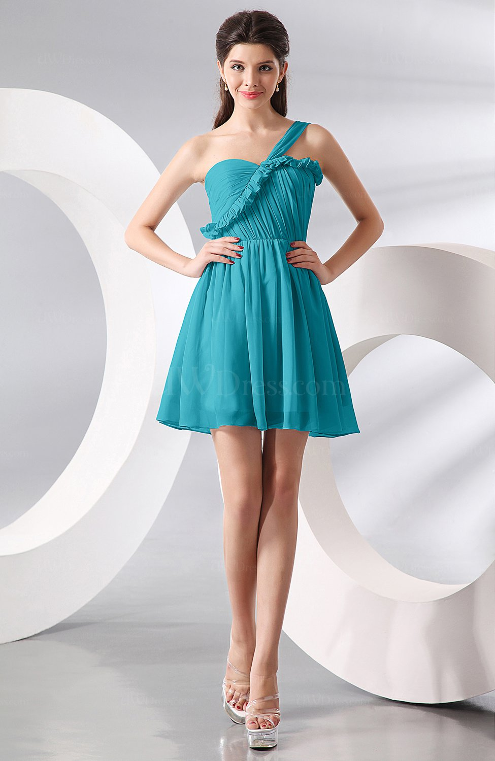 Teal Elegant A-line One Shoulder Chiffon Short Ruching Wedding Guest ...