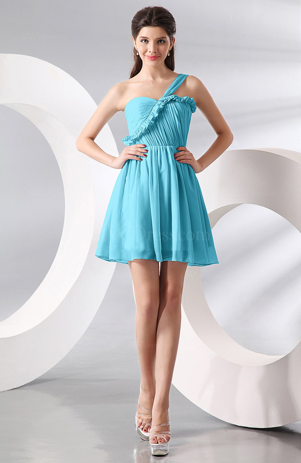 Turquoise elegant a line one shoulder chiffon short for Turquoise wedding guest dress