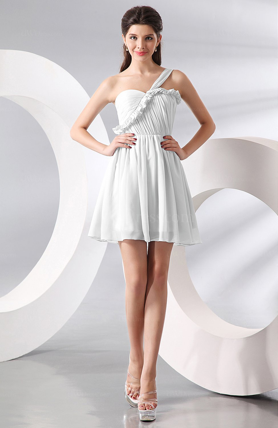 White elegant a line one shoulder chiffon short ruching for White dresses for wedding guests