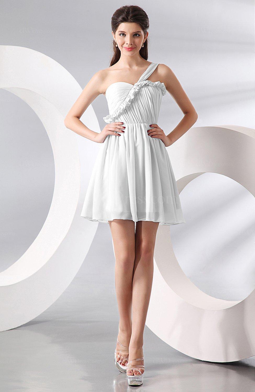 White elegant a line one shoulder chiffon short ruching for Elegant dress for wedding guest
