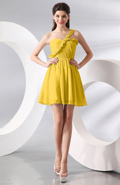 Yellow Elegant A-line One Shoulder Chiffon Short Ruching Wedding Guest Dresses