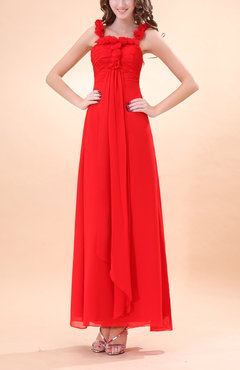 Red Modern A-line Square Sleeveless Zipper Evening Dresses