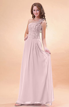 Blush Modern A-line One Shoulder Zip up Chiffon Floor Length Bridesmaid Dresses