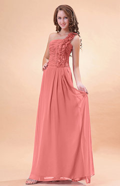 Coral Modern A-line One Shoulder Zip up Chiffon Floor Length Bridesmaid Dresses