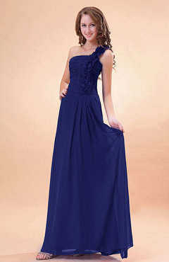 Electric Blue Modern A-line One Shoulder Zip up Chiffon Floor Length Bridesmaid Dresses