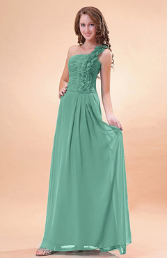 Mint Green Modern A-line One Shoulder Zip up Chiffon Floor Length Bridesmaid Dresses