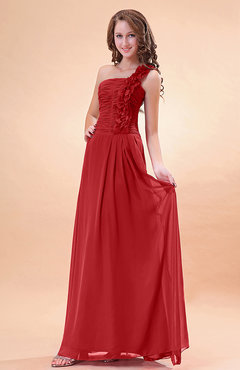 Red Modern A-line One Shoulder Zip up Chiffon Floor Length Bridesmaid Dresses
