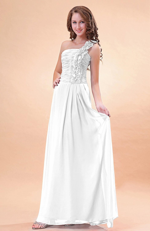 White modern a line one shoulder zip up chiffon floor for Medium length wedding dresses