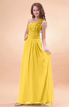 Yellow Modern A-line One Shoulder Zip up Chiffon Floor Length Bridesmaid Dresses
