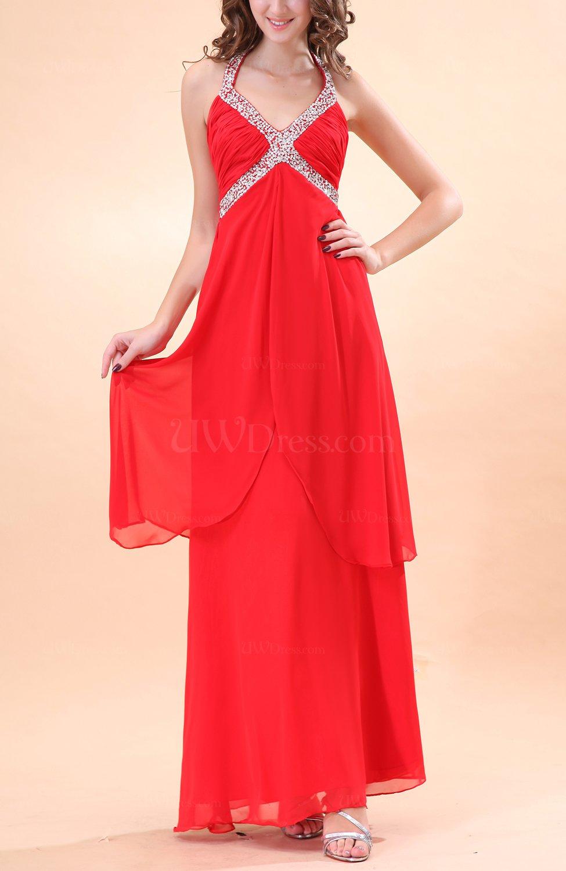 Red Modern Halter Sleeveless Chiffon Ankle Length Wedding