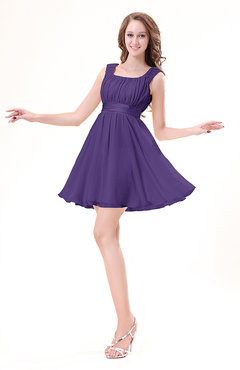 Dark Purple Modest Sleeveless Zipper Chiffon Ribbon Wedding Guest Dresses