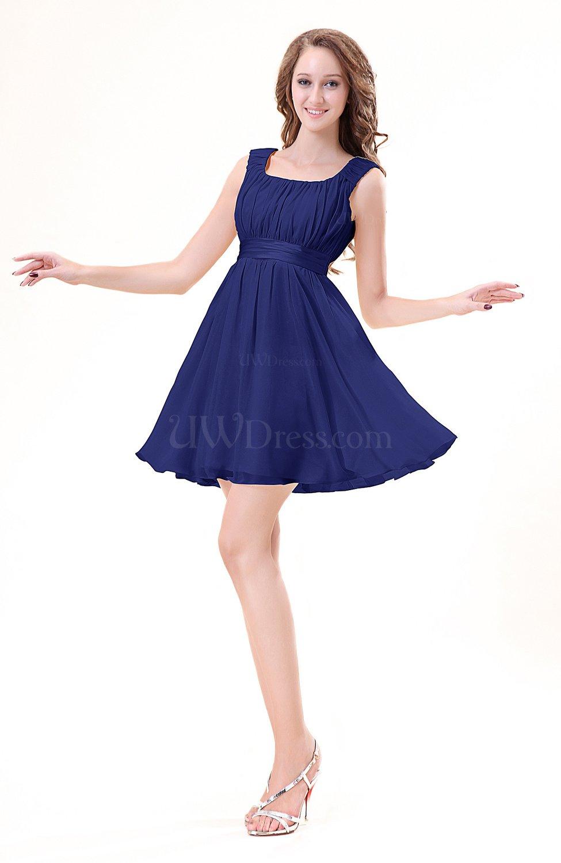 Electric Blue Wedding Guest Dresses : Electric blue modest sleeveless zipper chiffon ribbon wedding guest