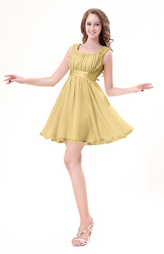 Gold Modest Sleeveless Zipper Chiffon Ribbon Wedding Guest Dresses