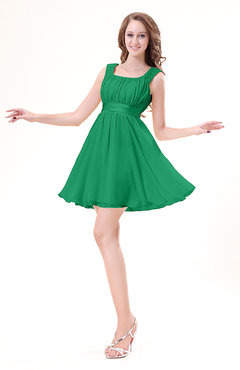 Green Modest Sleeveless Zipper Chiffon Ribbon Wedding Guest Dresses