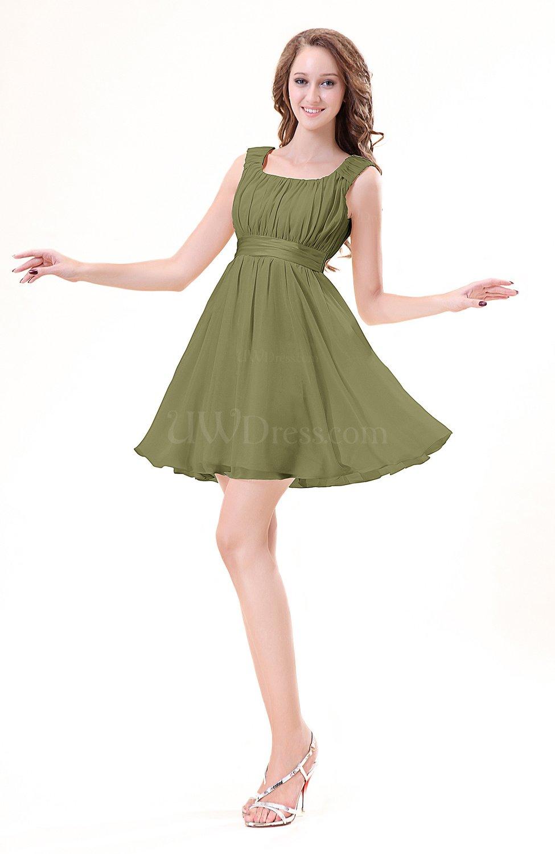 Olive Green Modest Sleeveless Zipper Chiffon Ribbon Wedding Guest ...