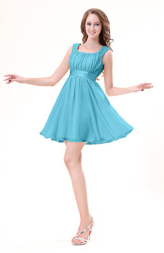 Turquoise Modest Sleeveless Zipper Chiffon Ribbon Wedding Guest Dresses