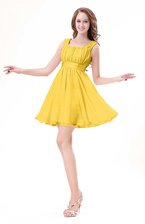 Yellow modest sleeveless zipper chiffon ribbon wedding for Yellow wedding guest dress