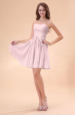 Blush Cute A-line Sweetheart Zip up Chiffon Sash Bridesmaid Dresses